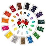 Funxim Stempelkissen Set, Fingerabdruck Stempelkissen Ungiftig Abwaschbar Tinte Stamp Pad für Papier Handwerk Stoff Malerei DIY Geburtstag Geschenk
