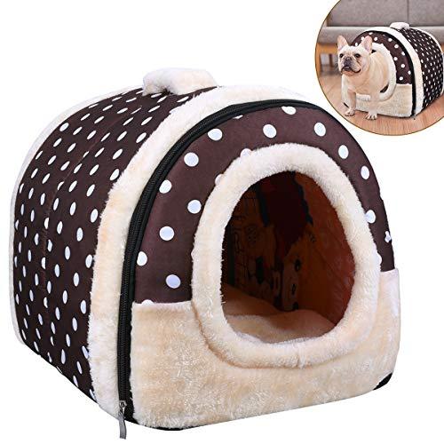 OZUAR 2 In 1 Hundebett Katzenbett Hundehöhle Hundehütte Tragbar Faltbare Hund Zimmer Katzenhöhlen Haustier Haus und Sofa Brauner Punkt 45×35×35cm