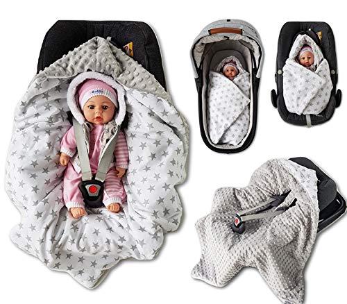 BABEES WINTER Einschlagdecke mit Füllung für Babyschale Autositz, Universal z.B. Maxi-Cosi Römer Cybex, warm Minky Baby Decke mit Klettverschluss für Kinderwagen Babytragen Babybett wattiert