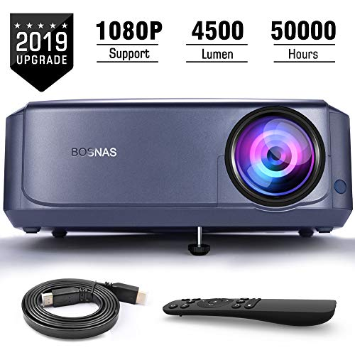 BOSNAS Video Beamer 50000 Stunden, unterstützt 1080P Full HD Heimkino Beamer,4500 Lumen LCD LED Projektor für Film Unterhaltung Spiele Reisen, unterstützt HDMI VGA AV USB Micro SD