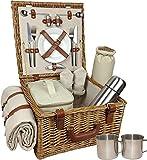Rot behindern Unisex Deluxe Komplett ausgestattete Traditionelle Picknick Korb, braun, mittlere/2Personen