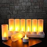 Expower 12er LED Flammenlose Kerzen,Wiederaufladbare Kerzen, Batteriebetriebene Kerzen Kabellose Teelichter LED-Weihnachtskerzen Kerzenlichter Led Lampe Wachskerzen Mit Ladestation (Ohne Netzteil) Warmweiß