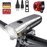 BELLALICHT LED Fahrradlicht Set, StVZO Zugelassen USB Wiederaufladbare Fahrradbeleuchtung fahrradlichter Set, CREE LED/Samsung Li-ion Batterie Laufzeit 6 Stunden, IPX5 Wasserdicht
