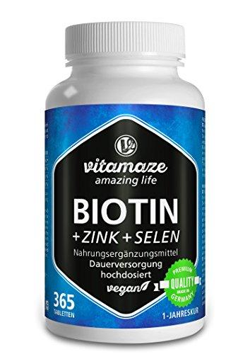 Der VERGLEICHSSIEGER bei vergleich.org 2018: Biotin hochdosiert + Selen + Zink für Haarwuchs, Haut & Nägel, 365 vegane Tabletten für 1 Jahr, Biotin hochdosiert 10.000 mcg, Made-in-Germany
