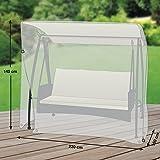 Premium Schutzhülle für Gartenschaukel/Hollywoodschaukel aus Polyester Oxford 600D - lichtgrau - von 'mehr Garten' - für 3-Sitzer (Breite: max. 220cm)
