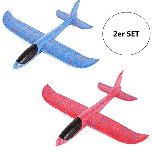 2er Set Styroporflieger XXL - Flugzeug zum Werfen 43cm Segelflugzeug Flieger Modell Wurf Glider Spielzeug Wurfgleitflieger