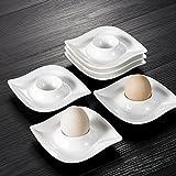 Malacasa, Serie Elvira, 6 tlg. Cremeweiß Porzellan Eierständer Set je 4,25 Zoll / 11*11*2,5cm Eierbecher Eierhalter