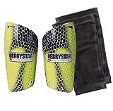 Derbystar Fußball Schienbeinschoner Flash APS, Größe M, gelb schwarz grau, 3235