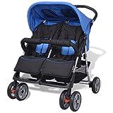 mewmewcat Baby Zwillingswagen Klappbar Zwillingskinderwagen Kinderwagen aus Stahl + Oxfordgewebe geeignet für Babys und Kleinkinder, Regenschutzhaube, ab Geburt nutzbar