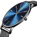LIGE Herren Uhren Schwarz Ultradünn Edelstahl Uhren Mode Wasserdicht Einfach Uhren Herren Geschäft Analoge Quarzuhr