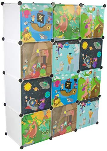KEKSKRONE Sehr Großer Kinderschrank Bunte Motiv-Türen - DIY Stecksystem - 12 Module je 37 x 37 x 37 cm, Weiß | Kinderzimmer-Schrank | Kinderkleiderschrank | Baby-Regal | Spielzeugkommode