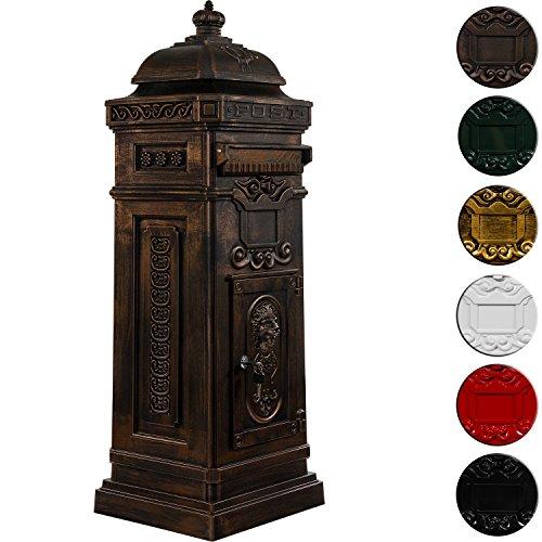 Antiker englischer Standbriefkasten, rostfreies Aluminium, Höhe: 102,5 cm, Farbe: Bronze, 3 Jahre Garantie