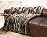 Felldecke aus Webpelz Wolf grau-braun 150x200cm