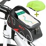 BIFY Fahrrad Rahmentasche Fahrrad Handytasche Wasserdichte Rahmentasche mit TPU-Touchscreen für Fahrrad Handyhalter Fahrrad Geeignet für Handys bis 6 Zoll