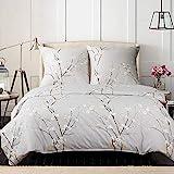 Bedsure Baumwolle Bettwäsche 135x200cm Hellgrau mit Blumen Blühen Muster Vintage Bettwäsche Set 2 Teilig mit 1 Bettbezug und 1 Kissenbezug in 80x80cm