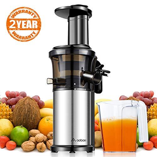 Aobosi Kompakt Slow Juicer/Edelstahl Entsafter/Saftpresse für Obst und Gemüse mit tragbar Griff/Rücklauffunktion/geräuschlosem Motor und Reinigungsbürste für einen nährstoffreichen Saft(Silber)