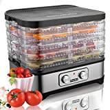 Meykey Dörrautomat mit Temperaturregler, Dörrgerät für Lebensmittel, Fleisch Frucht Gemüsetrockner, Dehydrator, BPA-frei