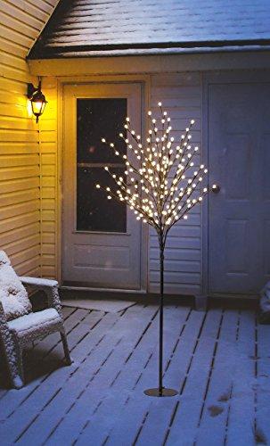 LED Lichterbaum mit 200 LEDs beleuchtet, 150 cm hoch, warm-weiß, Lichterzweig Lichterkette Weihnachtsbaum LED-Baum für Innen-  und Außen