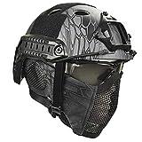 LIKEDA Airsoft Paintball Schutzhelm, Taktische Helme Mit Stahlgitter Maske CS Spiel Set 8 Farbe,E