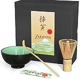Matcha-Set 3-teilig moosgrün,bestehend aus Matcha-Schale, Matcha-Löffel und Matcha-Besen (Bambus) in Geschenkbox. Original Aricola