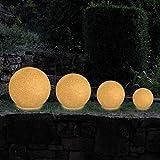 MAXCRAFT Gartenleuchte Rund Gartenlampe Gartenbeleuchtung Lampe Kugel Außenleuchte Kugelleuchte Außen für Garten Fassung E27 mit 6 Erdspießen Naturstein-Optik IP65 mit 2 Meter Kabel - Ø 40 cm