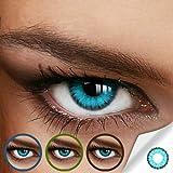 Farbige Jahres-Kontaktlinsen CARIBBEAN Blue - MIT und OHNE Stärke in BLAU - von LUXDELUX - mit Stärke (-3.00 DPT in Minus)