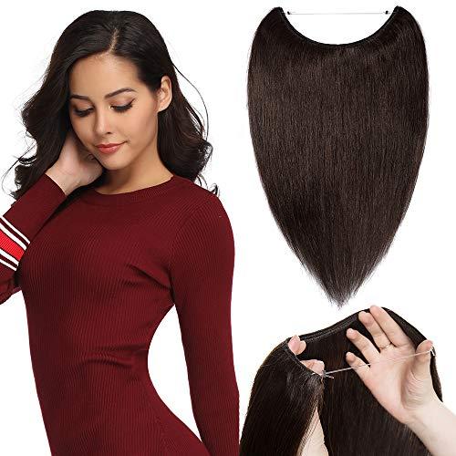 TESS Extensions Echthaar günstig 1 Tresse Remy Haarverlängerung mit Draht Haarverdichtung Glatt 16'(40cm)-60g(#2 Dunkelbraun)