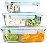Rosenstein & Söhne Glasschüssel: 3er-Set Glas-Frischhaltedosen, Klick-Deckel, 2 Kammern, -40 bis 450 °C (Lunchboxen)