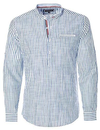 CARISMA Designer Fischerhemd mit Leinen Blau/Weiß CRM8454 L