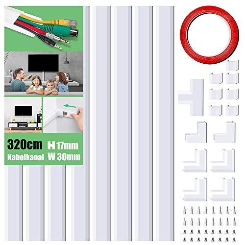 Kabelkanal Selbstklebend, 320cm PVC Kabelabdeckung, Kabelschacht zum verstecken von Kabel, TV Kabelkanal für alle Netzkabel in Haushalt/Büro, 8 Stück x L40cm*W3cm*H1,7cm, weiß