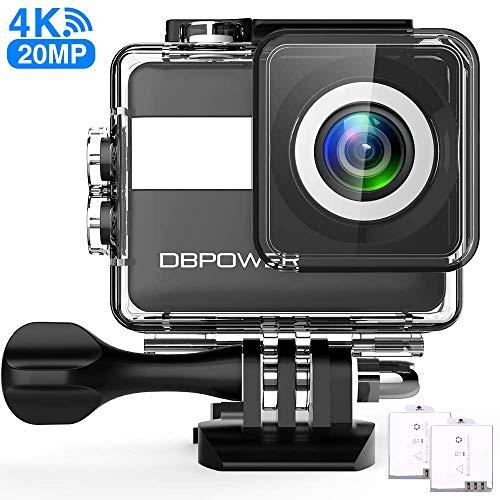 DBPOWER N6 Action-Kamera HD 4K 20MP WiFi Touchscreen, Smart Unterwasserkamera 30M, EIS Stabilisierung wasserdichte Videokamera 170° Weitwinkel Zeitraffer 2 1200mAh Akkus, komplettes Zubehör Pack