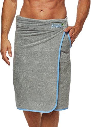 Sowel Saunakilt Herren, Saunahandtuch mit Klettverschluss, Saunatuch aus 100% Baumwolle, 60 x 140 cm, Grau/Blau