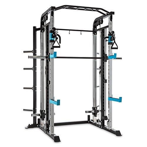 CAPITAL SPORTS Amazor M Power Rack • Power Cage • 2 x Safety Spotter: max. 500 kg • 2 x J-Cups: max. 350 kg • 22-stufig • Langhantelstange mit Führung • 2 x Kabelzug • Klimmzugstange • Gewichtsscheibenaufnahme • Stahl • Pulverbeschichtung • schwarz