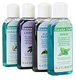 Saunaaufguss Sauna Duft Öl 4 Flaschen a 100ml mit natürlichen und naturidentischen Bestandteilen ätherischer Öle (Minze, Alpenkräuter, Eukalyptus, Lavendel) 4er Pack