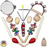 Musikinstrumente-Set für Kinder aus Holz - 15 tlg. Motorikspielzeug mit Tamburin, Rasseln, Klangstäben - Musikpielzeug mit Premium Rhythmus-Instrumenten ab 3 Jahre von SCHMETTERLINE