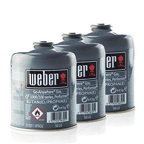 Weber 3er-Pack Gas-Kartusche für Q100/1000-Serien, Performer & Go Anywhere