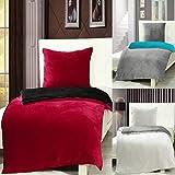 7dreams Cashmere Touch Bettwäsche 135 x 200 cm + 80 x 80 cm - Rot/Schwarz - Plüsch Winter Wendebettwäsche - besonders weich - mit Reißverschluss