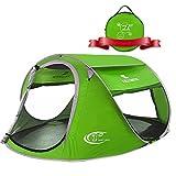 ZOMAKE Zelt Pop Up Strandmuschel, Extra Leicht Strandzelt mit Boden UV 80 Sonnenschutz - Familie Tragbares Strand-Zelt - XXL Beach Tent for Baby ( Grün )