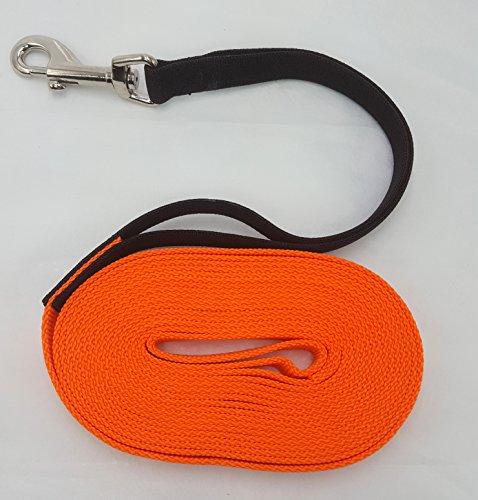 elropet Flex Fährtenleine Schleppleine mit Ruckdämpfer orange 15m-20mm Hundeleine