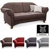Cavadore 2-Sitzer Sofa Maifayr mit Federkern / Kleine Couch im Landhausstil mit Holzfüßen / 164 x 90 x 90 / Braun