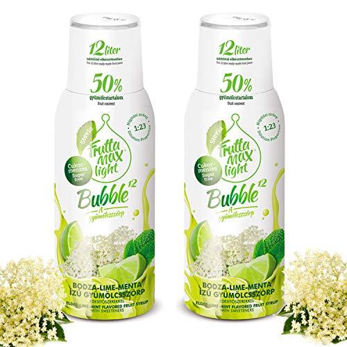 Light Low-Carb Fitness-Sirup Holunderblüte-Limette-Minze Geschmack von Frutta Max light | Ohne-Zucker | mit Stevia | Gesund und lecker mit 50% Fruchtanteil 2erPack(2x500ml)
