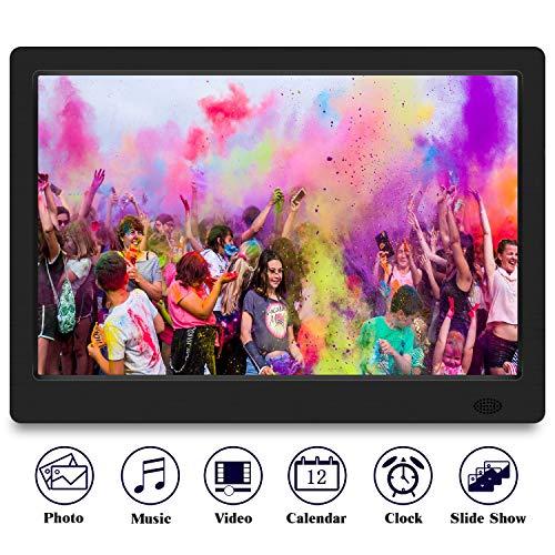TENSWALL 13.3 Zoll Digitaler Bilderrahmen 1280x800 hochauflösendes Full-IPS-Display Foto/Musik/Video-Player Kalender Wecker automatischer EIN/aus Timer, unterstützt USB-und SD-Karte, Fernbedienung