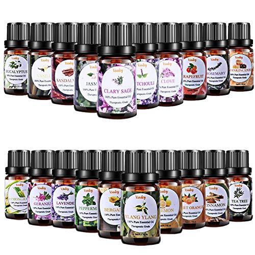Ätherische Öle Set Bio 100% Naturrein Reines Aromatherapie Duftöl Aroma Öl Geschenk Set Essential Oil für Diffuser Luftbefeuchter 20 x 5 ml