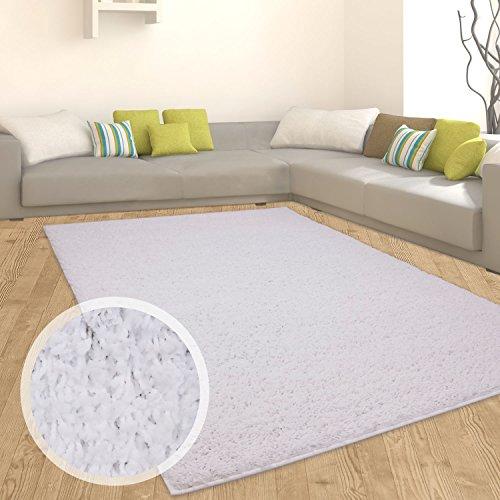Teppich Shaggy Hochflor Langflor Flokati Einfarbig/ Uni aus Polypropylen in Weiß für Wohn-Schlafzimmer, Größe: 120x170 cm