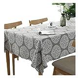 Meiosuns Grey Retro Tischdecke Rechteckige Tischdecke Baumwolle Leinen Tischdecke Geeignet für Home Küche Dekoration, Verschiedene Größen (130x180cm)