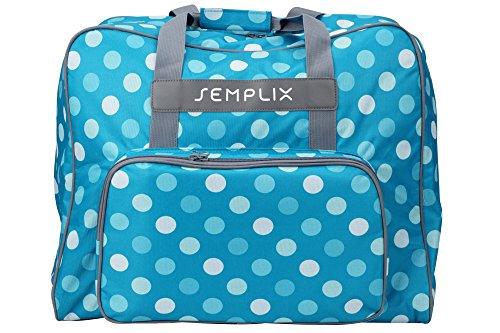 SEMPLIX XL-Nähmaschinentasche, Polka Dots Petrol/Türkis, 52x42x27 cm, Große stabile Transport und Aufbewahrungs Tasche für große Nähmaschinenmodelle