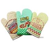 3er Set Backofenhandschuhe / Ofenhandschuhe mit Motiv. American Diner Deko. Grün, Gelb und beige. Bunte hitzebeständige Topfhandschuhe USA. Küchenhandschuhe