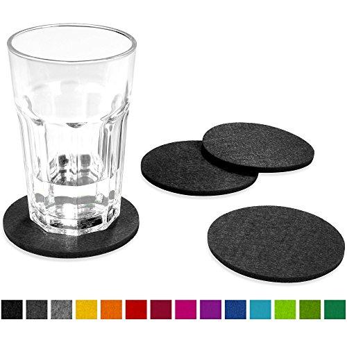 FILU Filzuntersetzer rund 8er Pack (Farbe wählbar) dunkelgrau - Untersetzer aus Filz für Tisch und Bar als Glasuntersetzer / Getränkeuntersetzer für Glas und Gläser