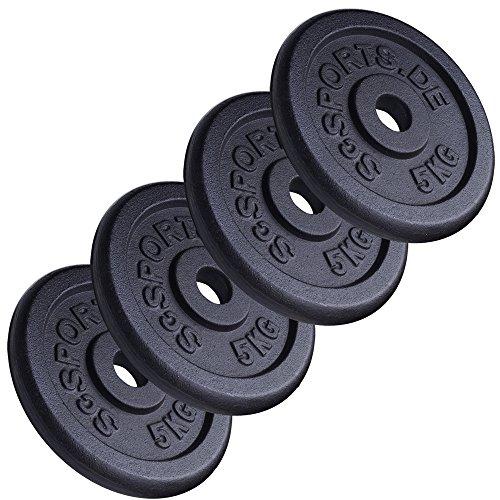 ScSPORTS Hantelscheiben-Set, 20 kg, Gusseisen, 4 x 5 kg Gewichte, 30/31 mm Bohrung