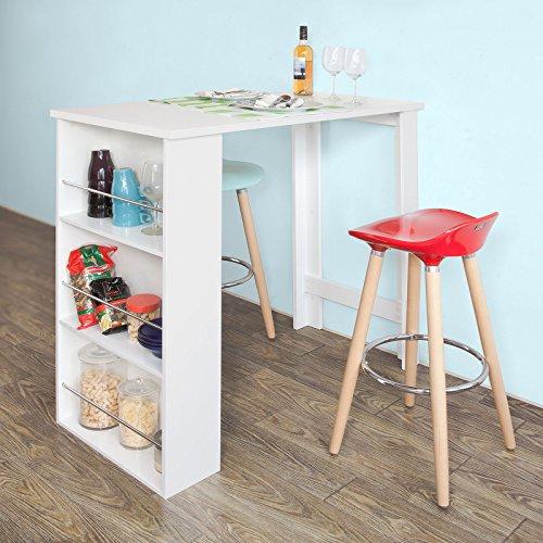 SoBuy Bartisch, Beistelltisch, Stehtisch, Küchentheke, Küchenbartisch mit 3 Regalfächern, Tresen, weiß, aus lackiertem MDF, FWT17-W